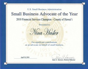 US Small Business Administration 2009 Financial Services Champion of the Year Award Winner